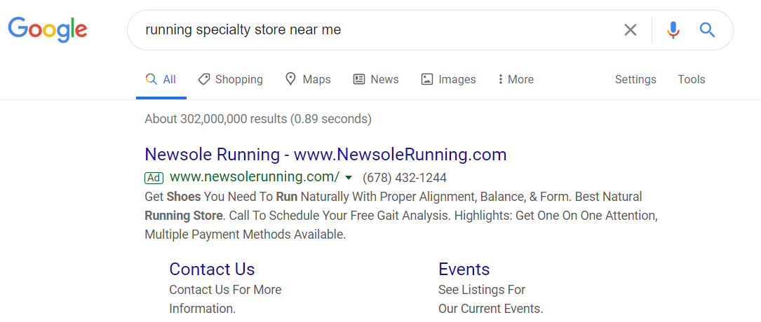 Search to Purchase Ad Example
