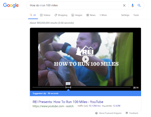 Video Featured Snippet Example