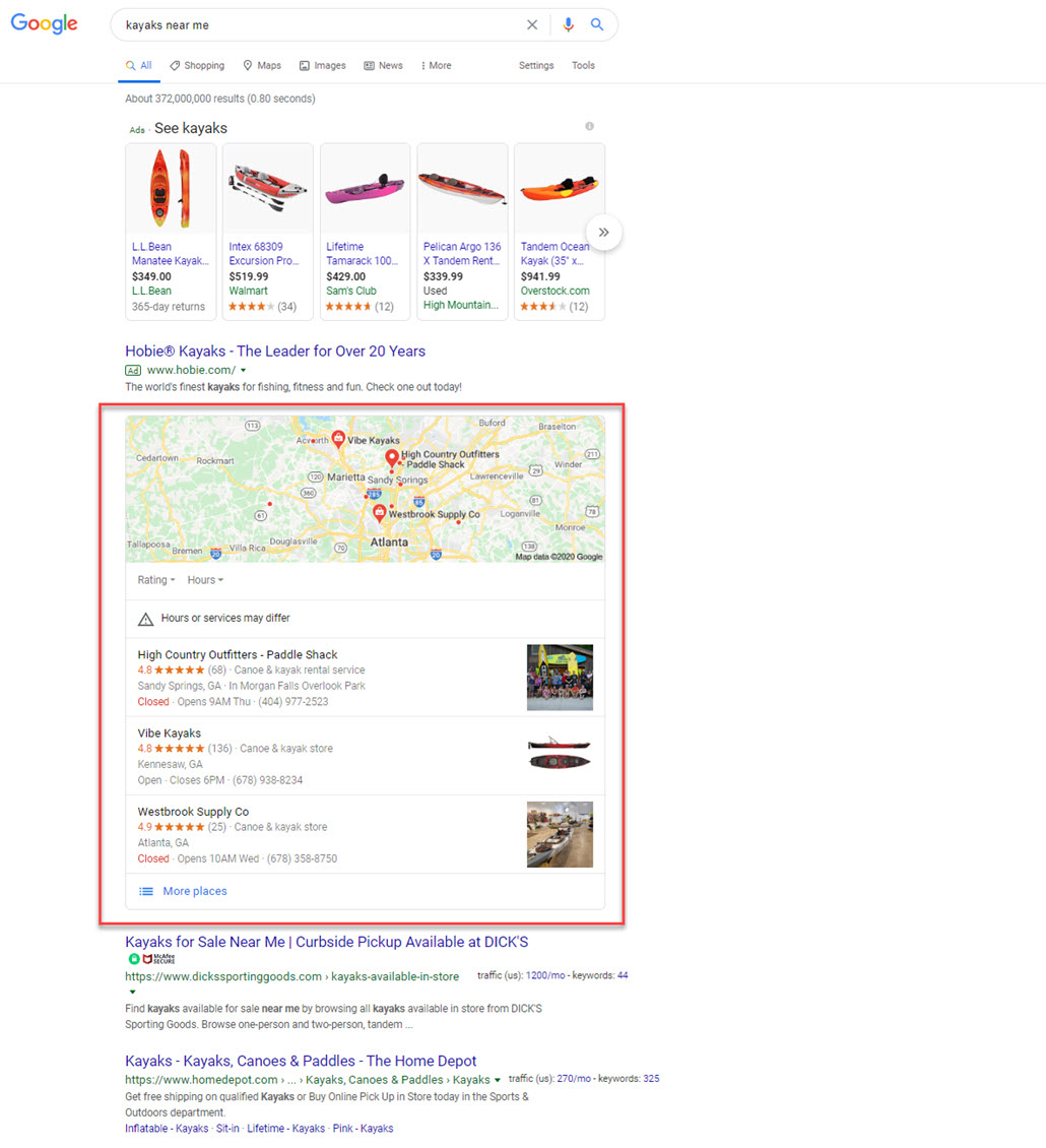 Kayaks Near Me Example Search