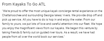 Kayaks To Go GMB Description