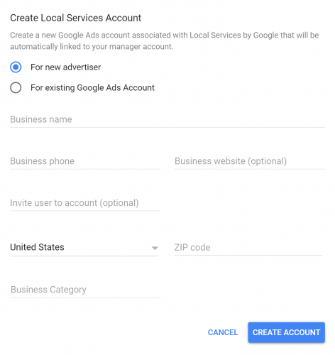 Screenshot of the first step to creating an LSA account