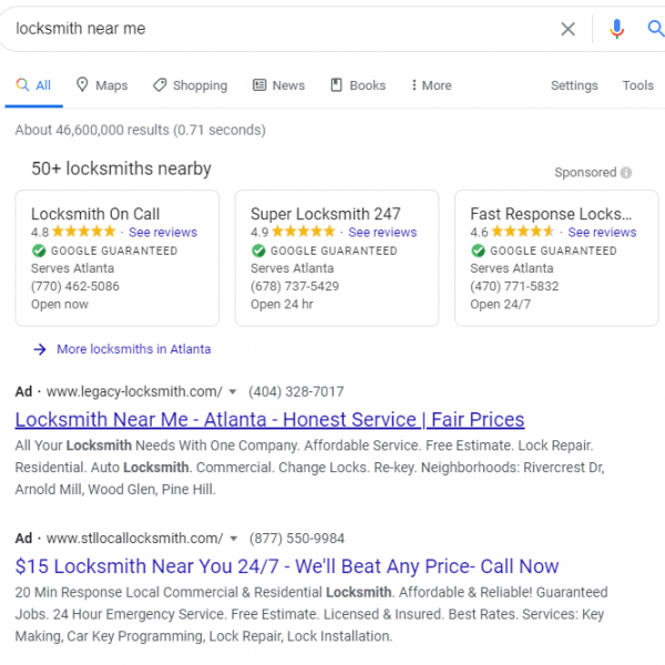 Screenshot of LSA and PPC ads on SERP