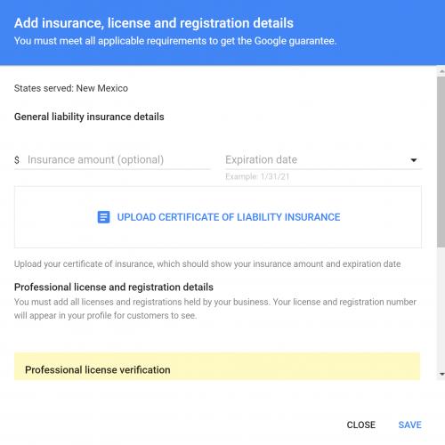 Screenshot of LSA business insurance upload screen