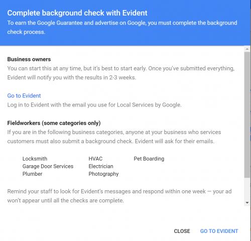Screenshot of LSA background check step