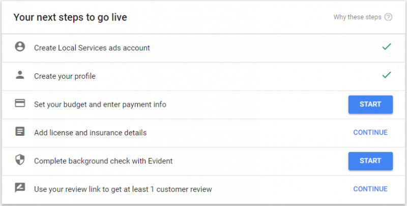 Screenshot of steps to go live on an LSA account in the LSA dashboad